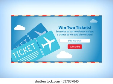 Win Free Airplane Tickets E-mail Newsletter Subscription Mockup Template Layout Vector Illustration