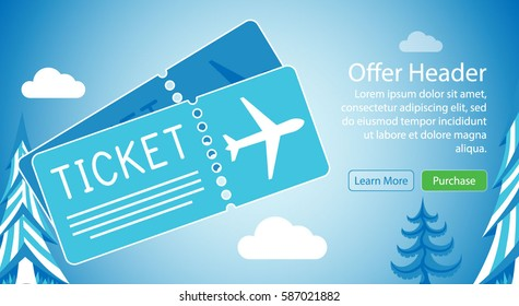 Win Free Airplane Tickets E-mail Newsletter Subscription Special Offer design Mock up Template Layout Vector Illustration