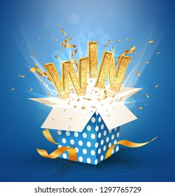 WIN gold text. Open textured blue box with confetti explosion inside and golden win word. Flying particles from giftbox vector illustration on white background