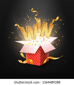 WIN gold text. Open textured red box with confetti explosion inside and golden win word. Flying particles from giftbox vector illustration on dark background