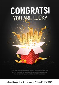 WIN gold text vector illustration. Open textured red box with confetti explosion inside and golden winning word on dark black background