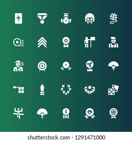 win icon set. Collection of 25 filled win icons included Medal, Winner, Award, Fan, Dice, Laurel, Offside, Goal, Gambler, Croupier, Success, Medals, Rank, Football ball, Ball