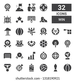 win icon set. Collection of 32 filled win icons included Ball, Award, Slot machine, Goal, Medal, Fan, Dartboard, Roulette, Success, Ribbons, Winner, Offside, Laurel, Goals, Seal
