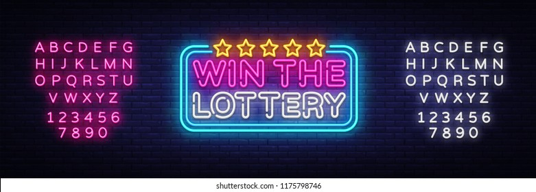 Win the Lottery neon text vector design template. Lotto symbols neon logo, light banner design element colorful modern design trend, night bright advertising. Vector. Editing text neon sign