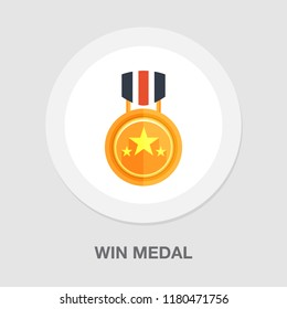 win medal icon - golden winner prize - success symbol - first place winner