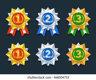 Win medals set. Colorful 3d award medals. 1st, 2nd, 3rd places. 3d prize medals. Eps10 vector illustration.