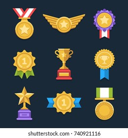 Win medals set. Cool flat award icons. Eps10 vector.