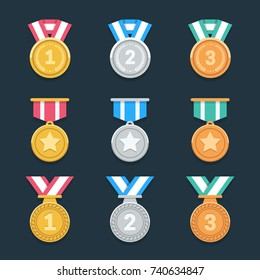 Win medals set. Trendy flat award icons. Eps10 vector.