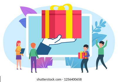Win prize, e-commerce concept. Small people stand near web page, big hand holding gift box. Poster for social media, web page, banner, presentation. Flat vector illustration