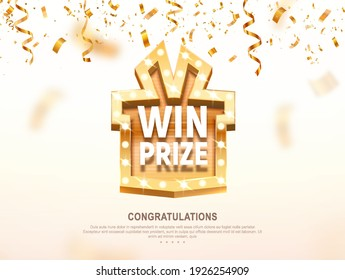Win prize gift box with golden retro board broadway sign vector illustration. Winning celebration with confetti on light background
