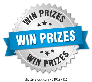 win prizes 3d silver badge with blue ribbon. win prizes badge. win prizes. win prizes sign