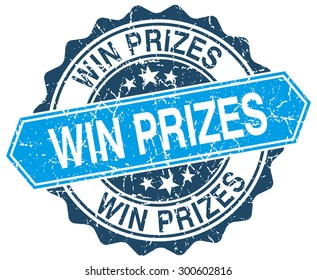 win prizes blue round grunge stamp on white. win prizes stamp. win prizes. win prizes sign