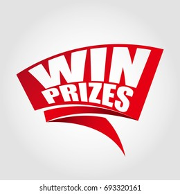 Win prizes labels banners