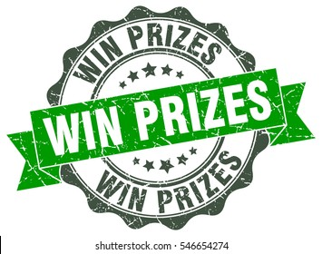 win prizes. stamp. sticker. seal. round grunge vintage ribbon win prizes sign