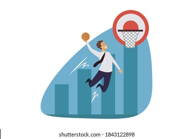 Win, sport, leadership, basketball, success, business concept. Successful athletic businessman leader jumping taking slamdunk in basket. Corporate goal achievement and market money profit illustration