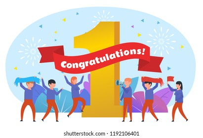 Win, take the first place concept. Congratulations words. Small people cheering near big number one. Poster for social media, web page, banner or presentation. Flat design vector illustration