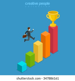 Win trophy success movement through obstacle flat 3d isometry isometric business concept web vector illustration. Man jump over chart bar graphic reach achieve cup sign. Creative people collection.