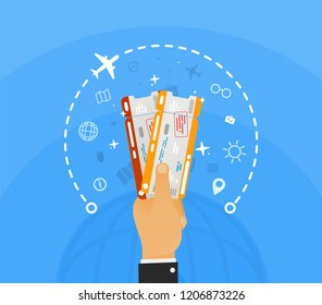 Win two plane tickets on vacation. Hand holding two airline tickets with infographic around and globe on blue background . Booking office for the sale of ticket vector illustration.