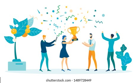 Win, Victory Celebration Flat Vector Illustration. Happy Young Coworkers Cartoon Characters. Business Success Achievement, Leadership. Winner Congratulations, Lady Holding Trophy, Prize handling