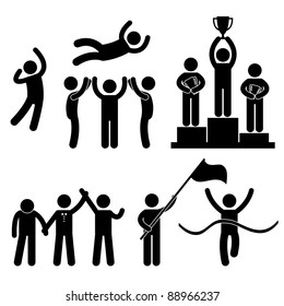 Win Winner Loser Glory Celebration Champion Success Victory Icon Symbol Sign Pictogram