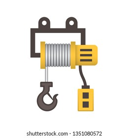 Winch icon or lifting equipment icon. That is a mechanical device used to tow truck and elevator consist of gear, pulley, hoist and hook to pull in or let out by adjust tension of rope or wire rope.
