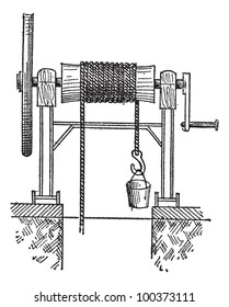 Winch, vintage engraved illustration. Dictionary of words and things - Larive and Fleury - 1895.