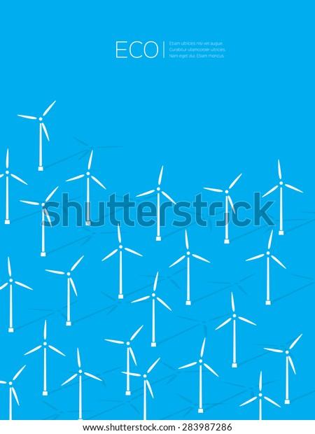 Wind Alternative Energy Generator Vector Background Stock