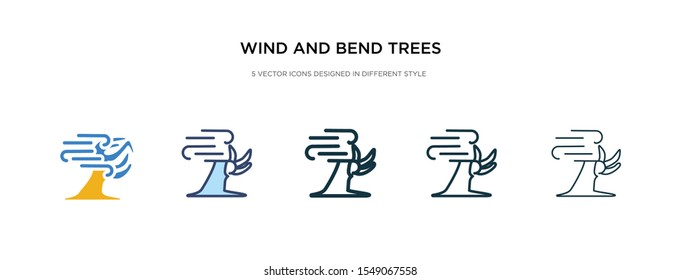 wind and bend trees icon in different style vector illustration. two colored and black wind and bend trees vector icons designed in filled, outline, line stroke style can be used for web, mobile, ui