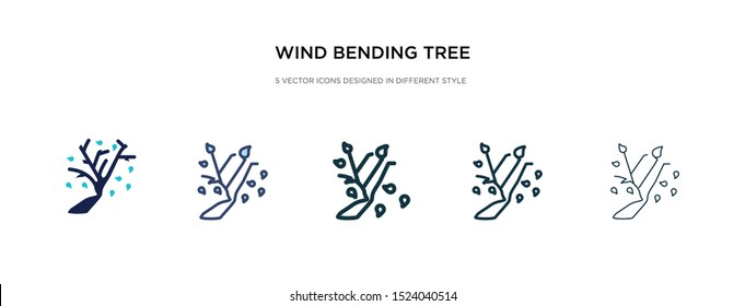 wind bending tree icon in different style vector illustration. two colored and black wind bending tree vector icons designed in filled, outline, line and stroke style can be used for web, mobile, ui