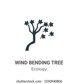 Wind bending tree vector icon on white background. Flat vector wind bending tree icon symbol sign from modern ecology collection for mobile concept and web apps design.