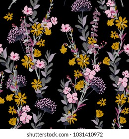 A wind blow and meadow florals seamless pattern vector on dark background with colorful flowers.
