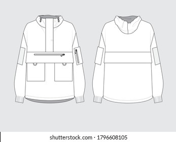 wind breaker, front and back, drawing pattern with vector illustration