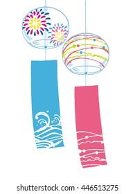 Wind chimes fireworks summer icon