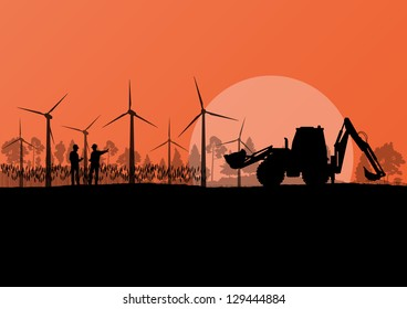 Wind electricity generators with construction engineers and excavator in countryside field landscape ecology illustration background vector