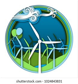Wind energy concept with wind generator turbines and ballooons on green and blue landscape background. Kinds of energy, part 5. Science for kids. Paper cut style vector illustration.