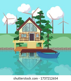 Wind energy concept.Lake house flat illustration.Cottage in forest with windmills. Eco life concept and resource saving.Environmental protection.