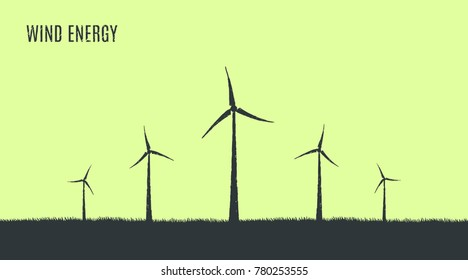 Wind energy, ecology, windmills. Vector flat concept illustration, hand drawn sketch.