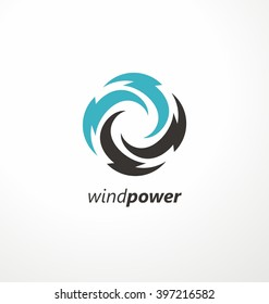 Wind energy symbol design template. Air conditioning vector logo concept. Abstract swirl icon. Circle bolt symbols.