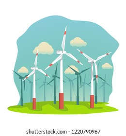 wind energy turbines on filed