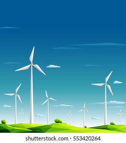 Wind farm in green fields on blue sky background.Ecology Concept.Polygonal style-Eps10 Vector Illustration.