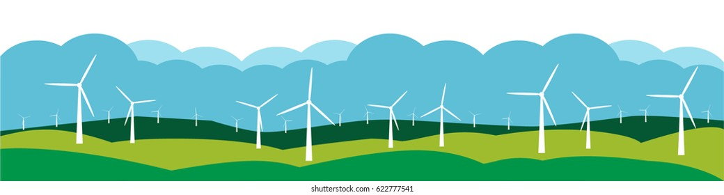 Wind farm landscape banner, with wind turbines, green hills and blue sky