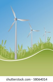 wind generator and plants with blue background