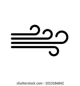 Wind icon, black isolated stylish weather icon, vector illustration.