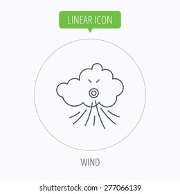 Wind icon. Cloud with storm sign. Strong wind or tempest symbol. Linear outline circle button. Vector
