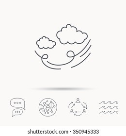 Wind icon. Cloud with storm sign. Strong wind or tempest symbol. Global connect network, ocean wave and chat dialog icons. Teamwork symbol.
