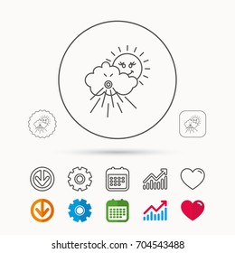 Wind icon. Cloud with sun and storm sign. Strong wind or tempest symbol. Calendar, Graph chart and Cogwheel signs. Download and Heart love linear web icons. Vector