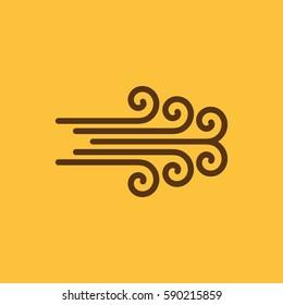 The wind icon.Hurricane, storm, whirlwind, tornado, windstorm symbol. Flat design. Stock - Vector illustration