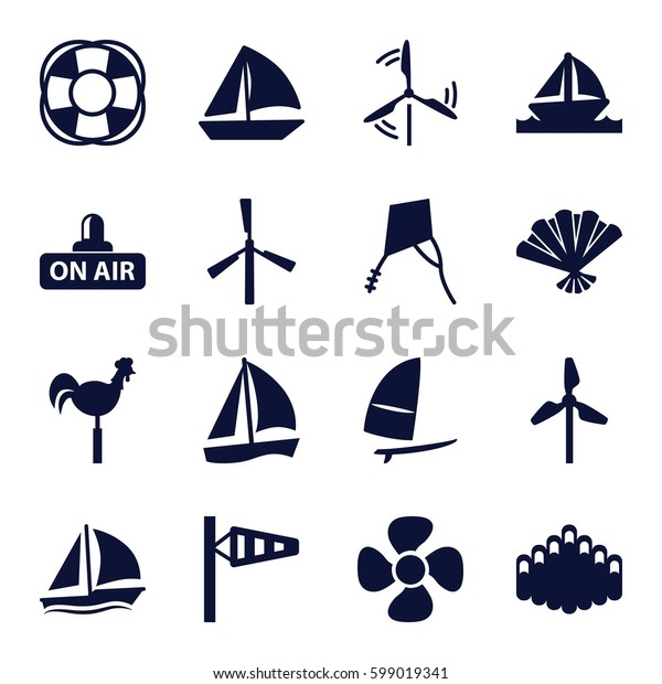 wind icons set. Set of 16 wind filled icons such as mill, wind cone, sailboat, weather vane, fan, open air, harmonica, boat, windsurfing