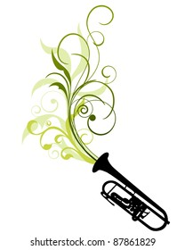 Wind instrument with Floral border for design use. Vector illustration.