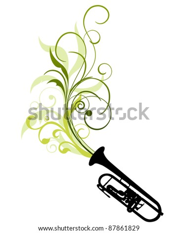 Wind Instrument Floral Border Design Use Stock Vector Royalty Free
